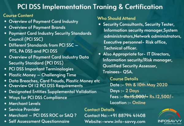 PCI DSS Implementation Training and Certification
